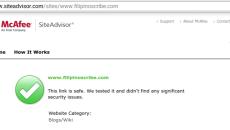 McAfee SiteAdvisor website schecker