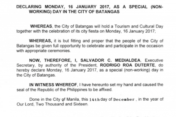 january 16 2017 holiday batangas city