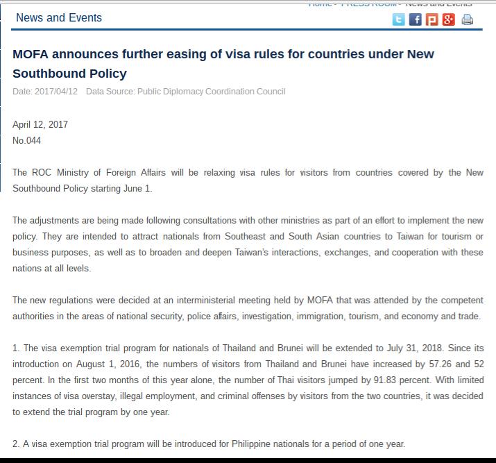 Taiwan lifts visa requirement fo Filipinos